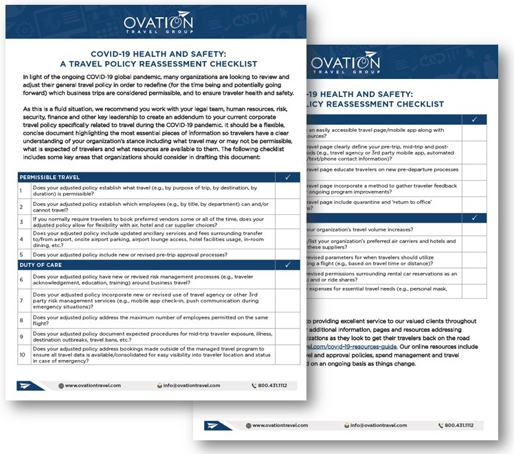COVID Policy Checklist Ovation